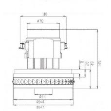 Двигатель для пылесоса моющего YDC11 1200W Китай низ.